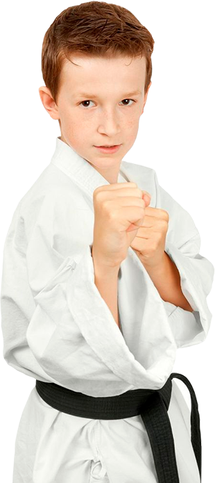 boy in karate stance