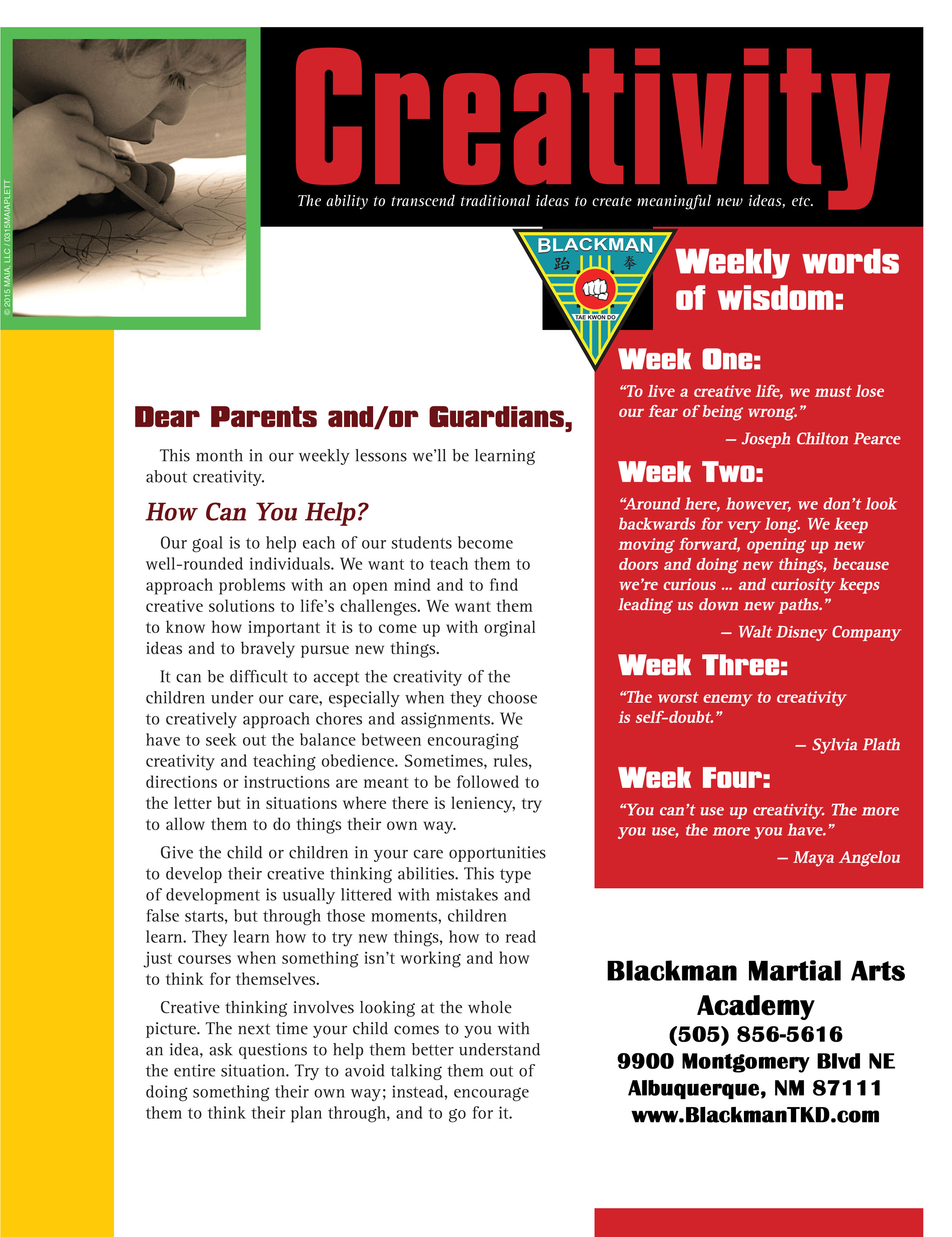 March Newsletter Student Of The Month Spring Break Camp Black