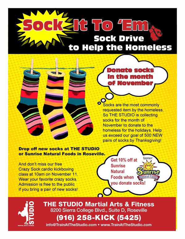 November: Sock Drive for the Homeless | THE STUDIO Martial