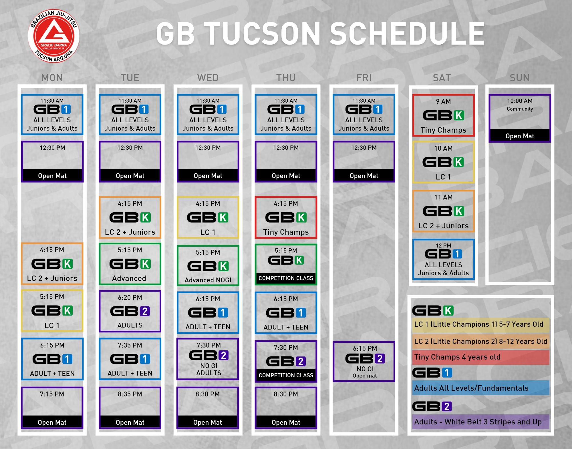 GB Tucson Schedule