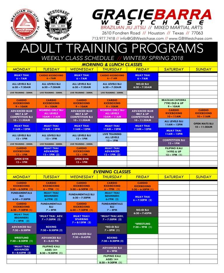 Adult Training Schedule 2018