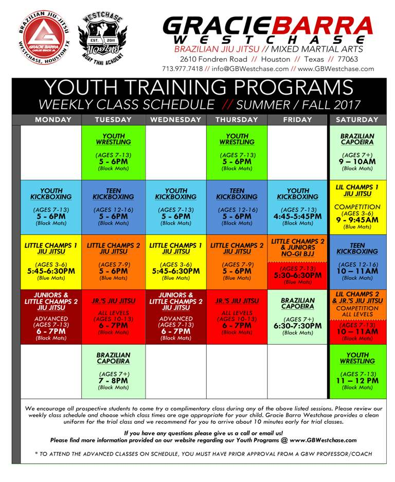 Youth Training Schedule 2018