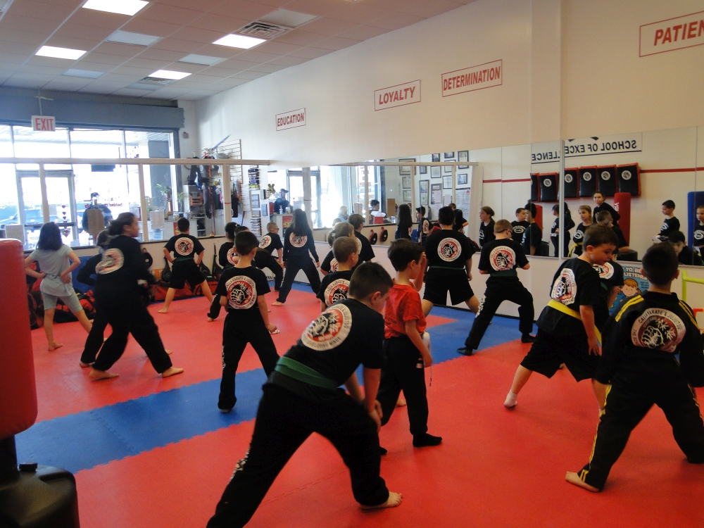 children' participating in martial arts class
