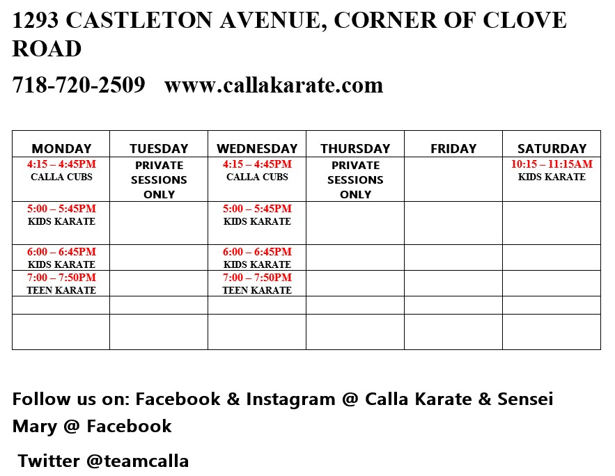 Beginner's schedule at Calla Karate & Jujutsu, |*City Name*|