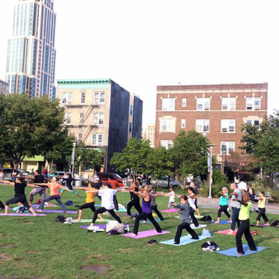 yoga for everybody held in the park