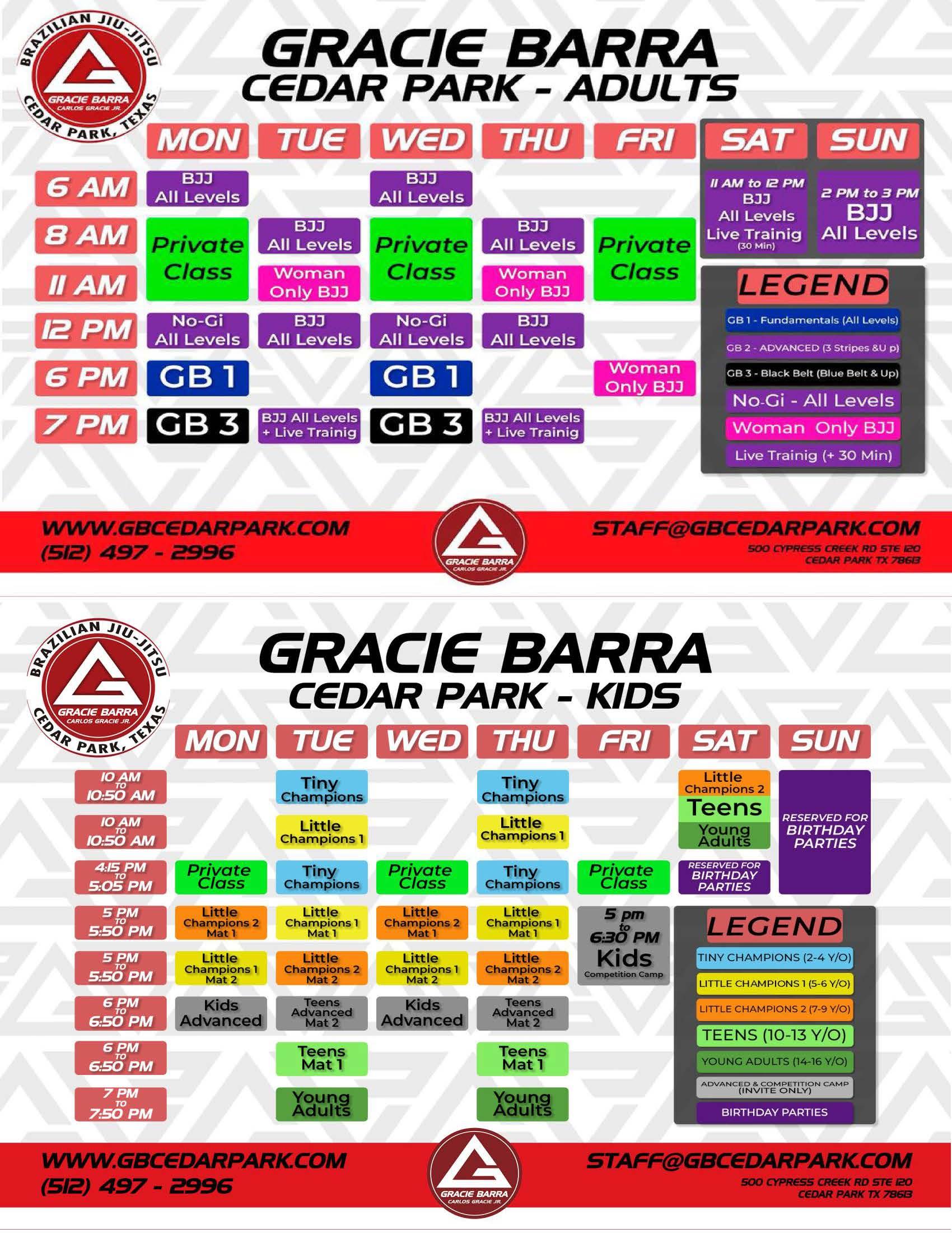 GB Cedar Park Schedule