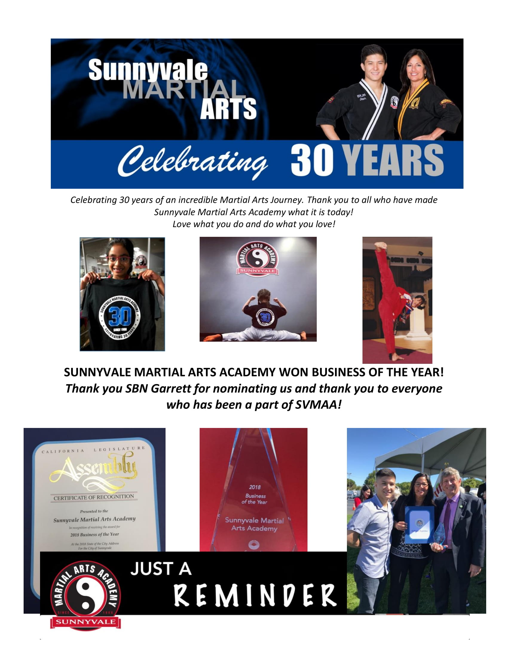 2018 Sunnyvale Martial Arts Academy Newsletter