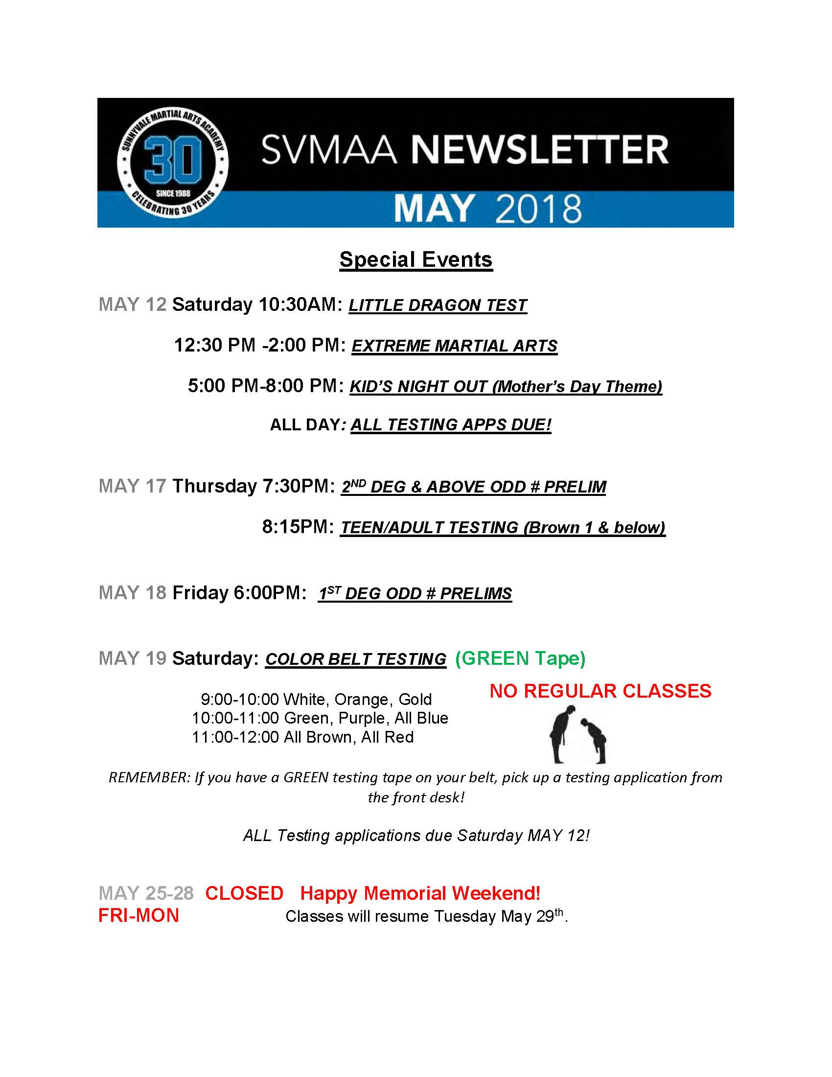 2018 Sunnyvale Martial Arts Academy Newsletter