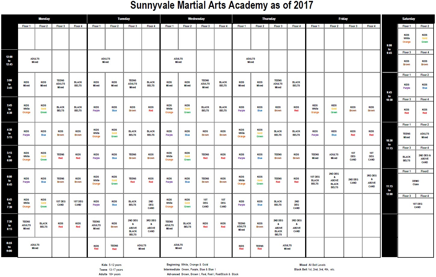 2017 Sunnyvale Martial Arts Academy Schedule