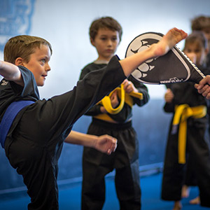 children kicking targets in martial arts class
