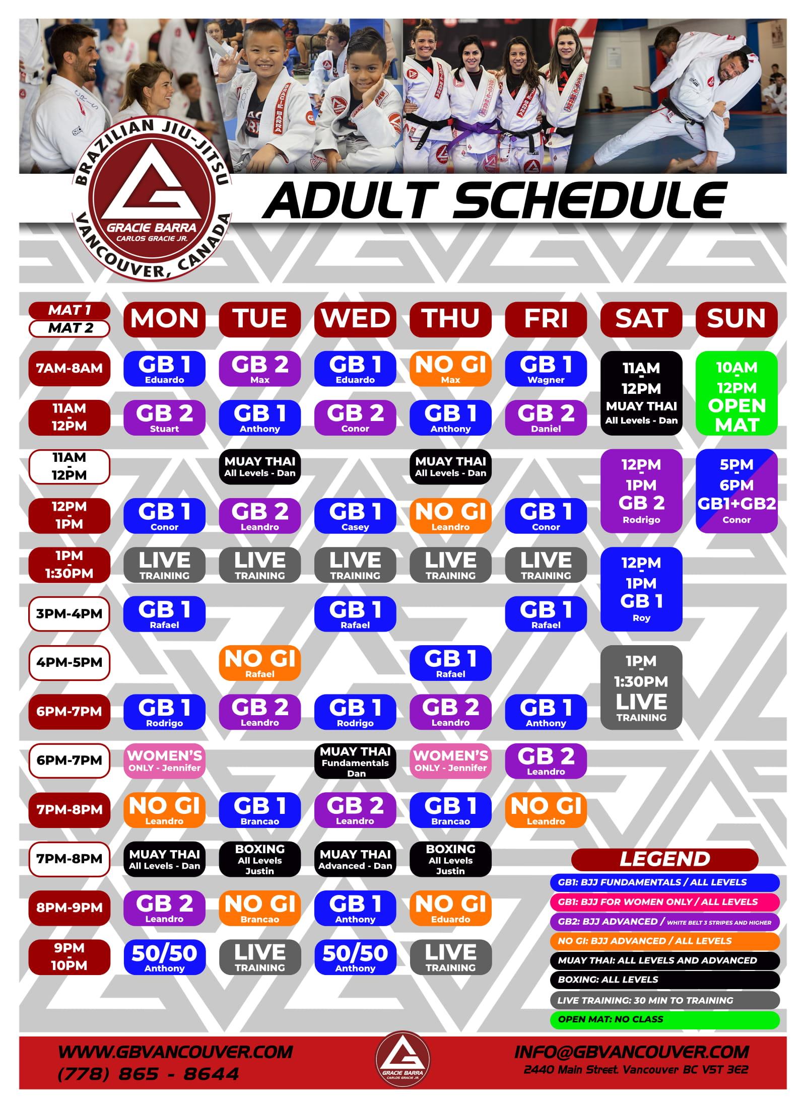 Gracie Barra Vancouver Schedule