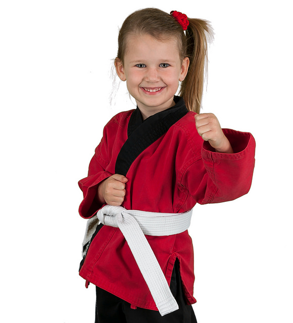 little girl ready for martial arts class