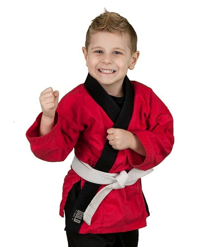 little boy ready for martial arts class