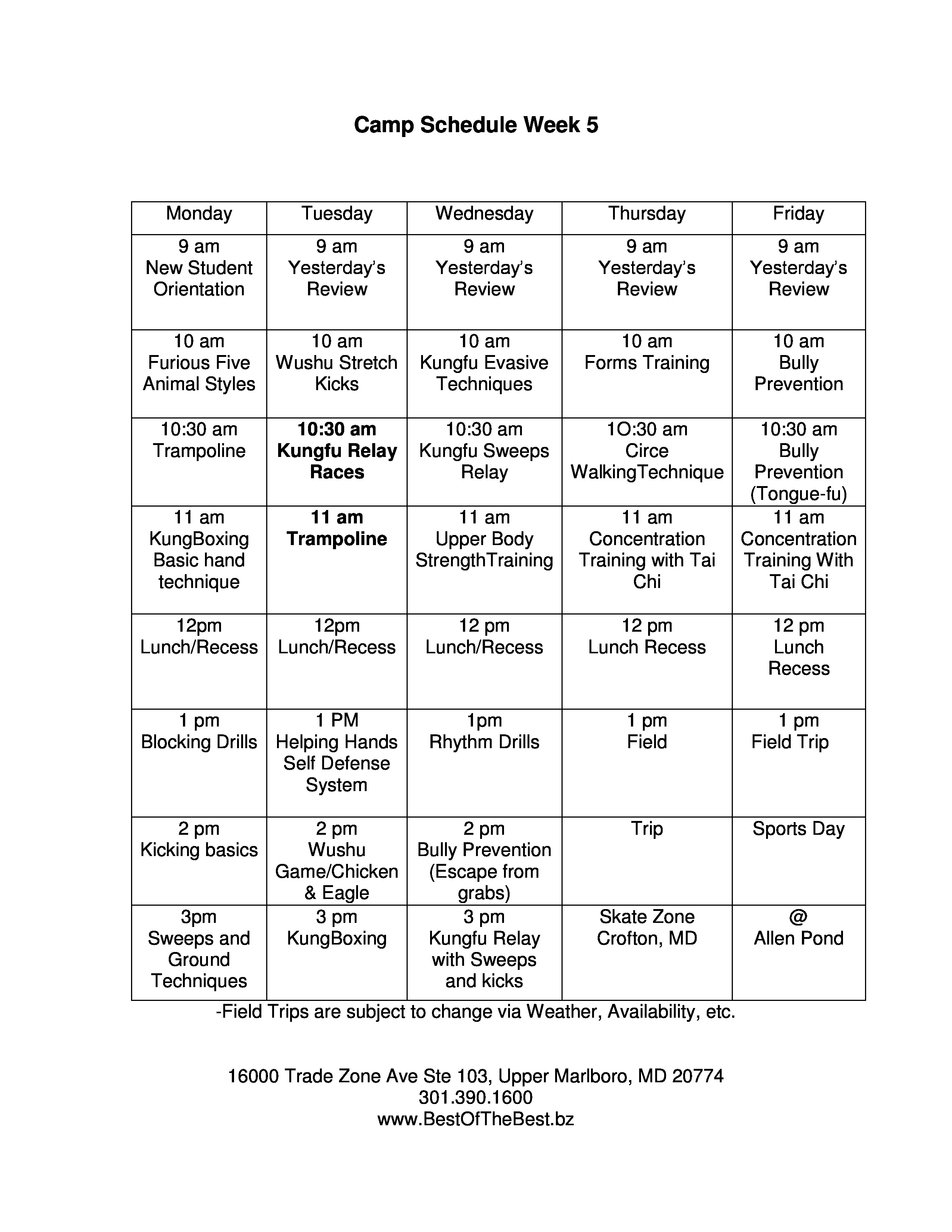 View A Sample Of Our Summer Camp Daily Schedule Below