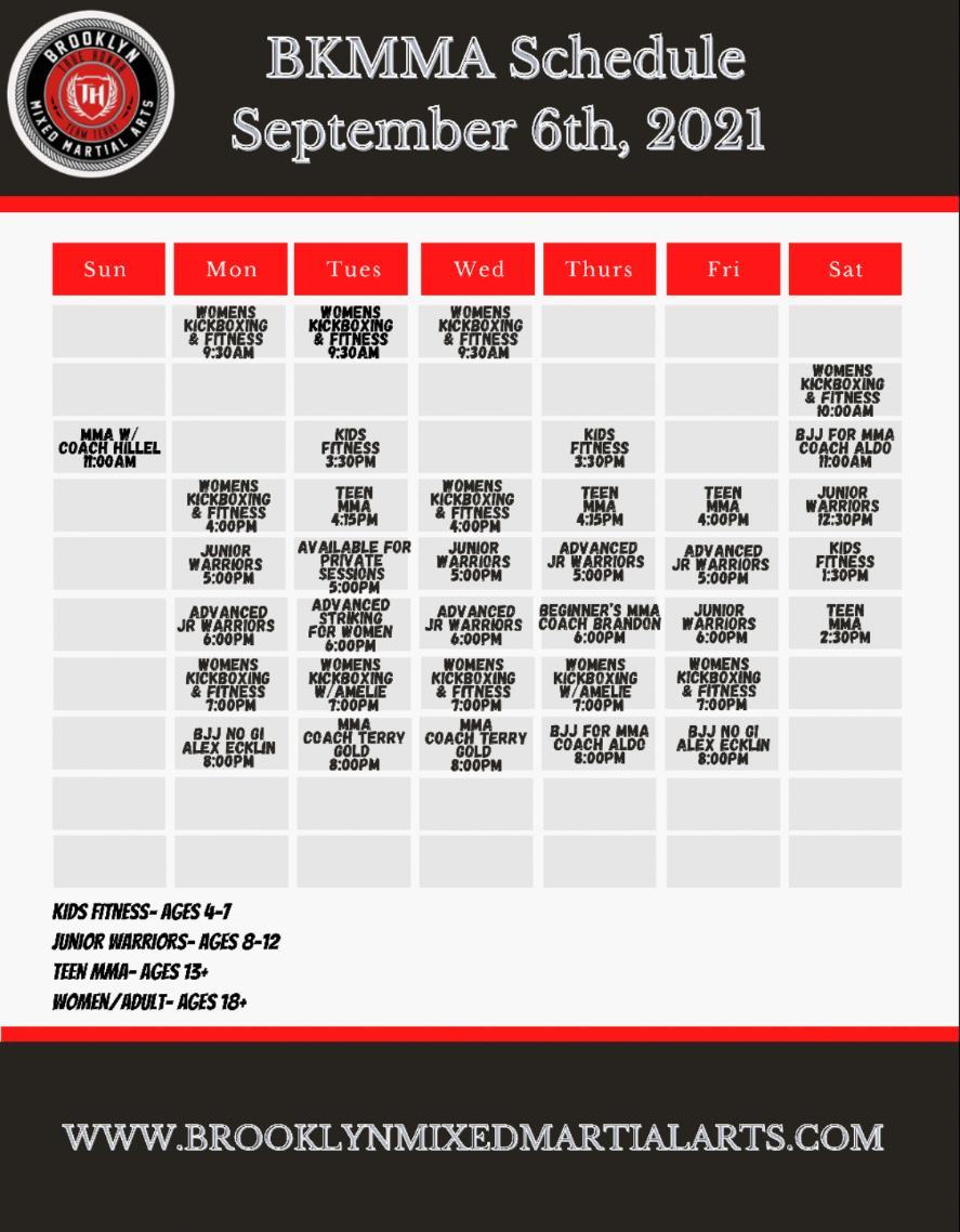 Brooklyn Mixed Martial Arts Schedule
