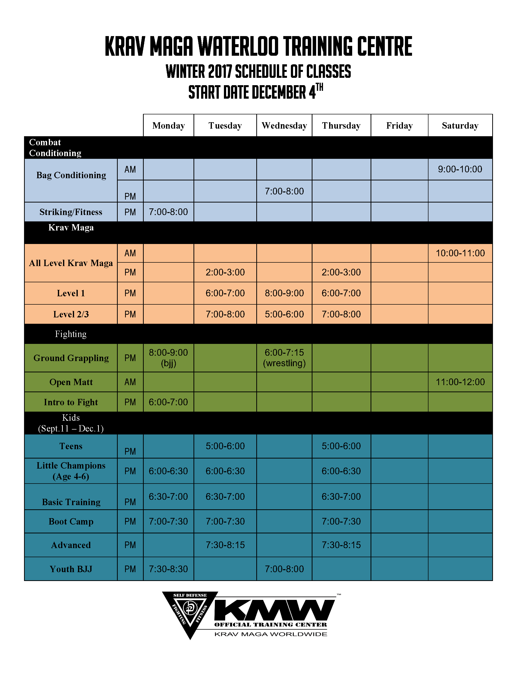 Krav Maga Winter 2017 Schedule