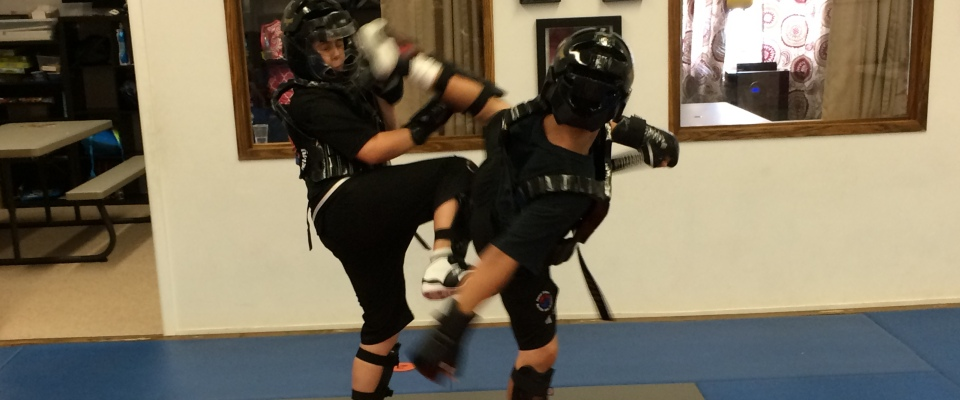 students sparring