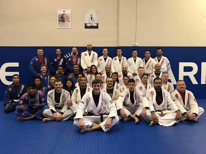 Gracie Barra students and instructors on the mats together